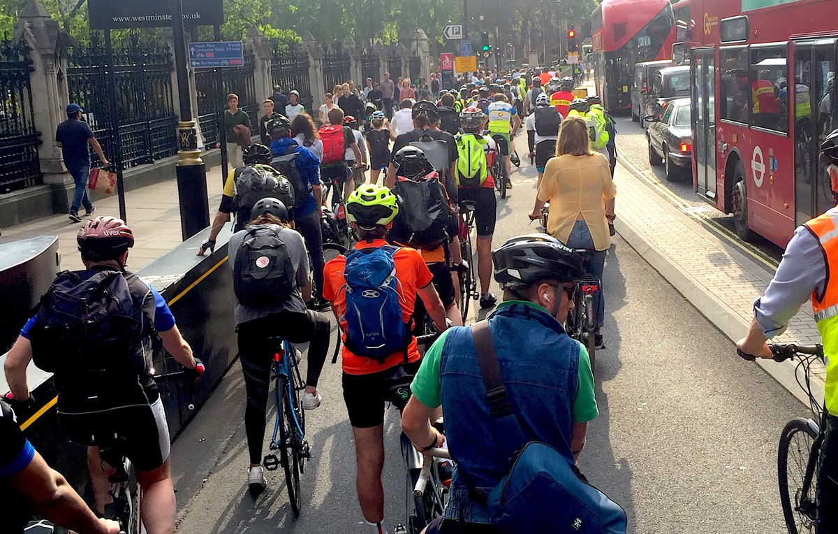 Cycle Commuters Passing Through Embankment And Blackfriars